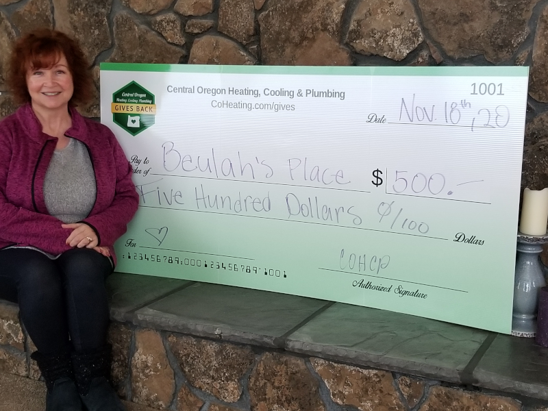 Central Oregon Heating, Cooling & Plumbing donated $500 to Beulah's place to help them assist at-risk teens.